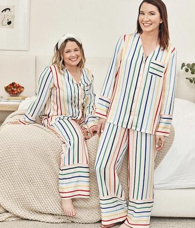 Summersalt + THE HOME EDIT - The Cloud 9 Silky PJ Set in Rainbow Stripes