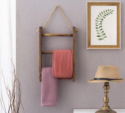 MyGift 3-Tier Mini Wall-Hanging Towel Storage Ladder