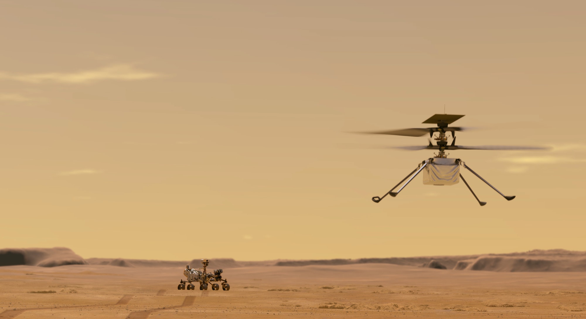 illustration of Ingenuity flying above Perseverance rover on Mars