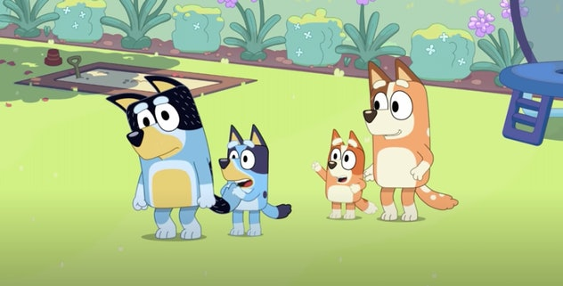 The characters of 'Bluey' in a field