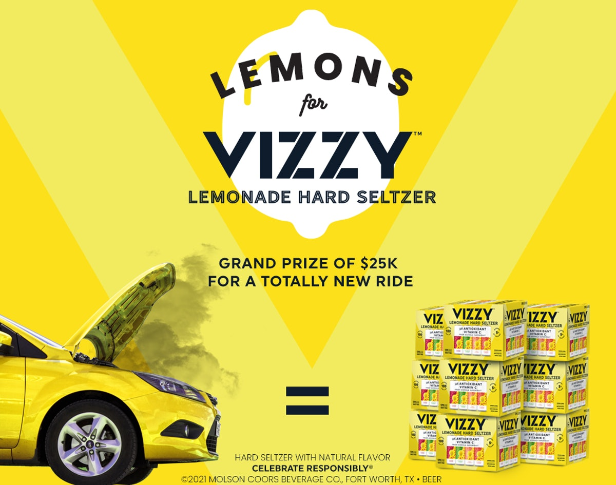 Here's how to enter the Lemons for Vizzy Lemonade contest for free sips and a new car.