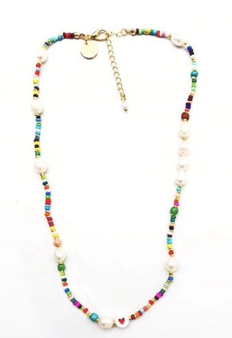 Rainbow and Pearl Beaded Necklace