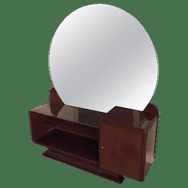 Art Deco Vanity With Large Round Mirror