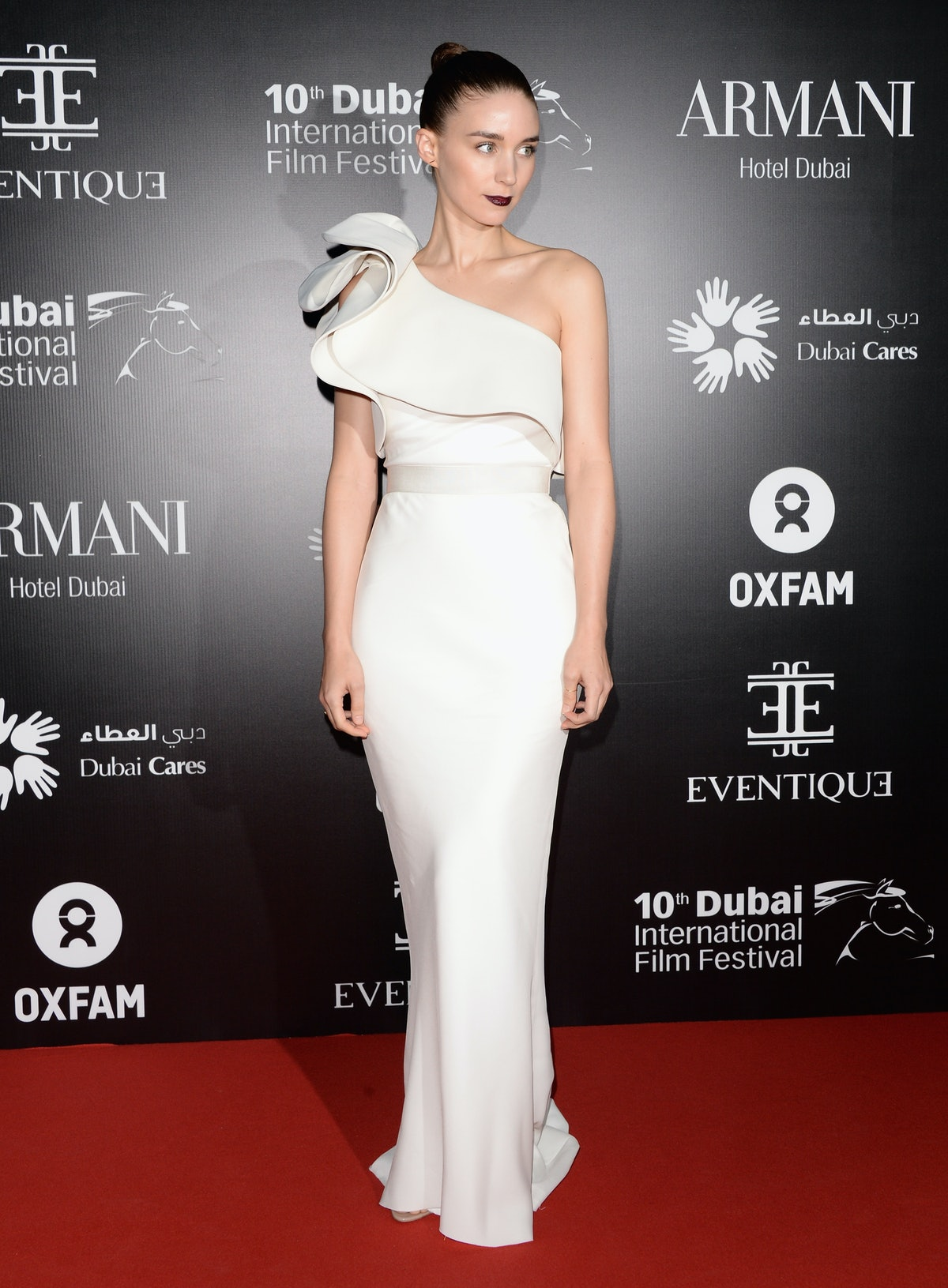 Rooney Mara in white gown.