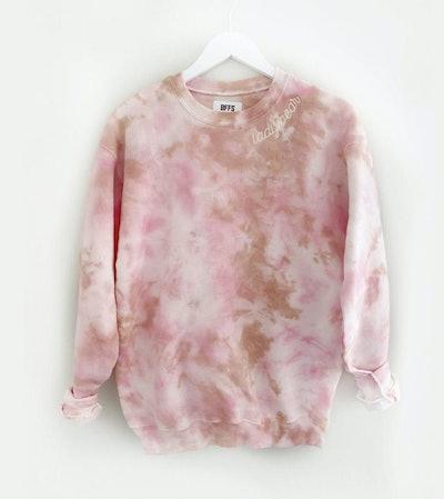 bffsandbabes - Dustdye Rose Stitch Embroidered Collar Tie-Dye Sweatshirt