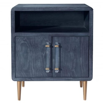 Ruth Modern Classic Blue Wood Brass Metal Side Table
