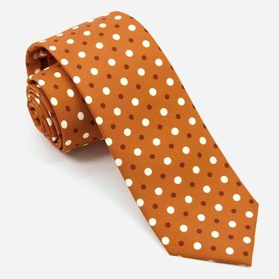 Hidden Dots Tie in Burnt Orange