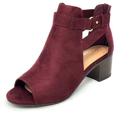 City Classified Cutout Side Strap Heeled Ankle Booties