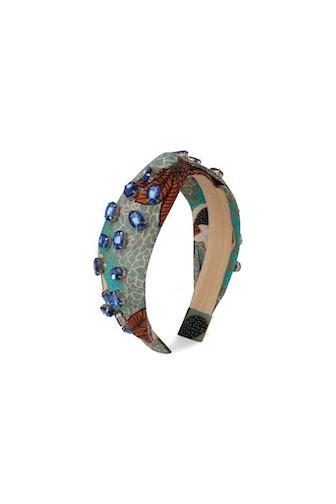 Blue & Orange Leaf Beaded Headband