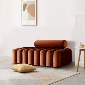 Modern Line Tufted Bench Upholstered Bench with Round Back Bronze