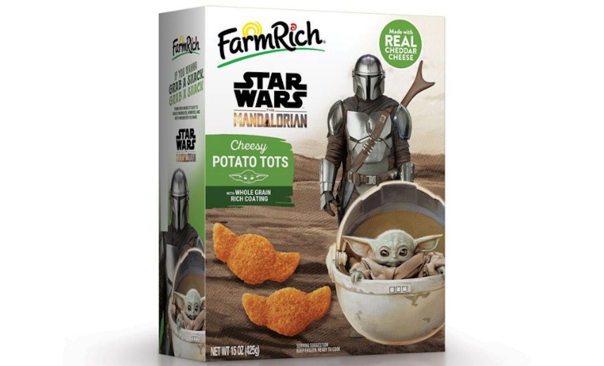 Farm Rich's Baby Yoda-shaped 'Mandalorian' Cheesy Potato Tots will be available in May.