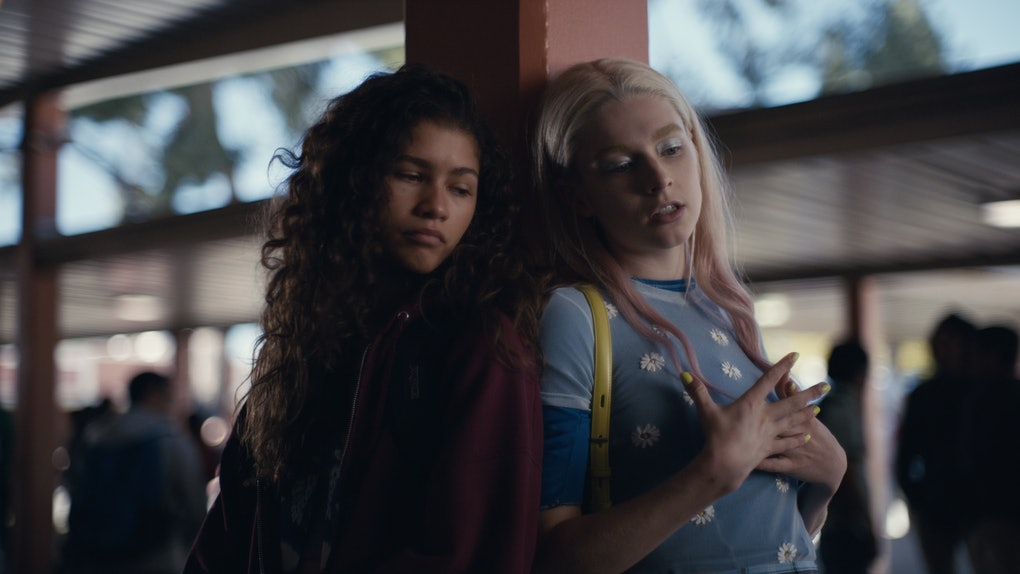 Zendaya as Rue and Hunter Schafer as Jules in Euphoria Season 1.