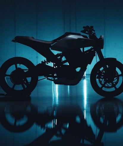 An e-motorcycle from Husqvarna called E-Pilen. E-bike. Electric motorcycle.