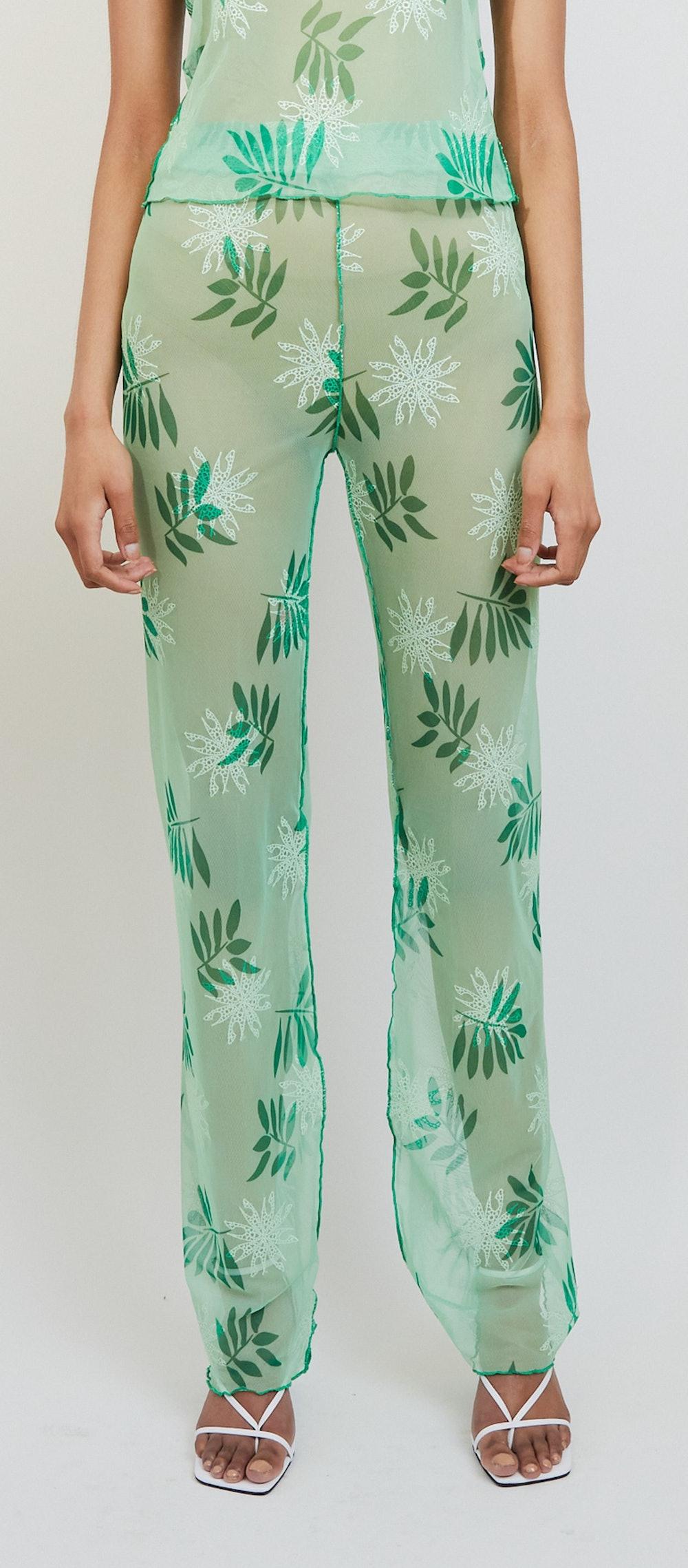 Sheer Plant Print Mesh Pants