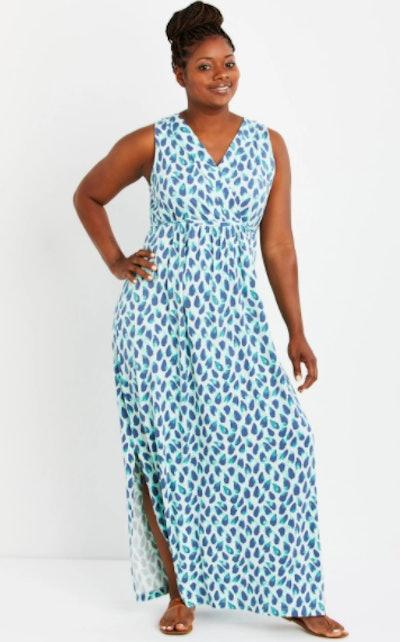 Plus Size Surplice Wrap Maxi Maternity Dress