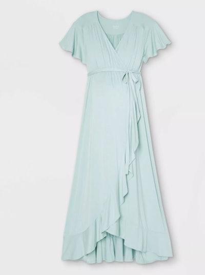 Flutter Short Sleeve Knit Wrap Maternity Dress