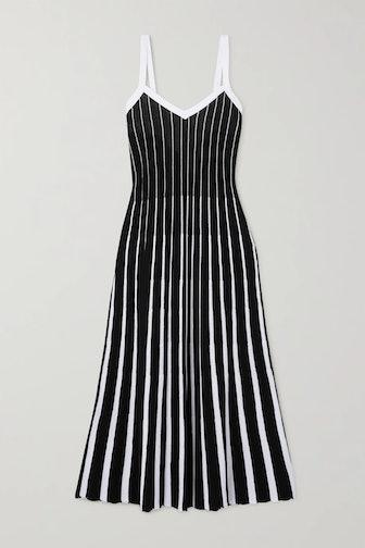 Tie-Back Striped Ribbed Cotton Midi Dress