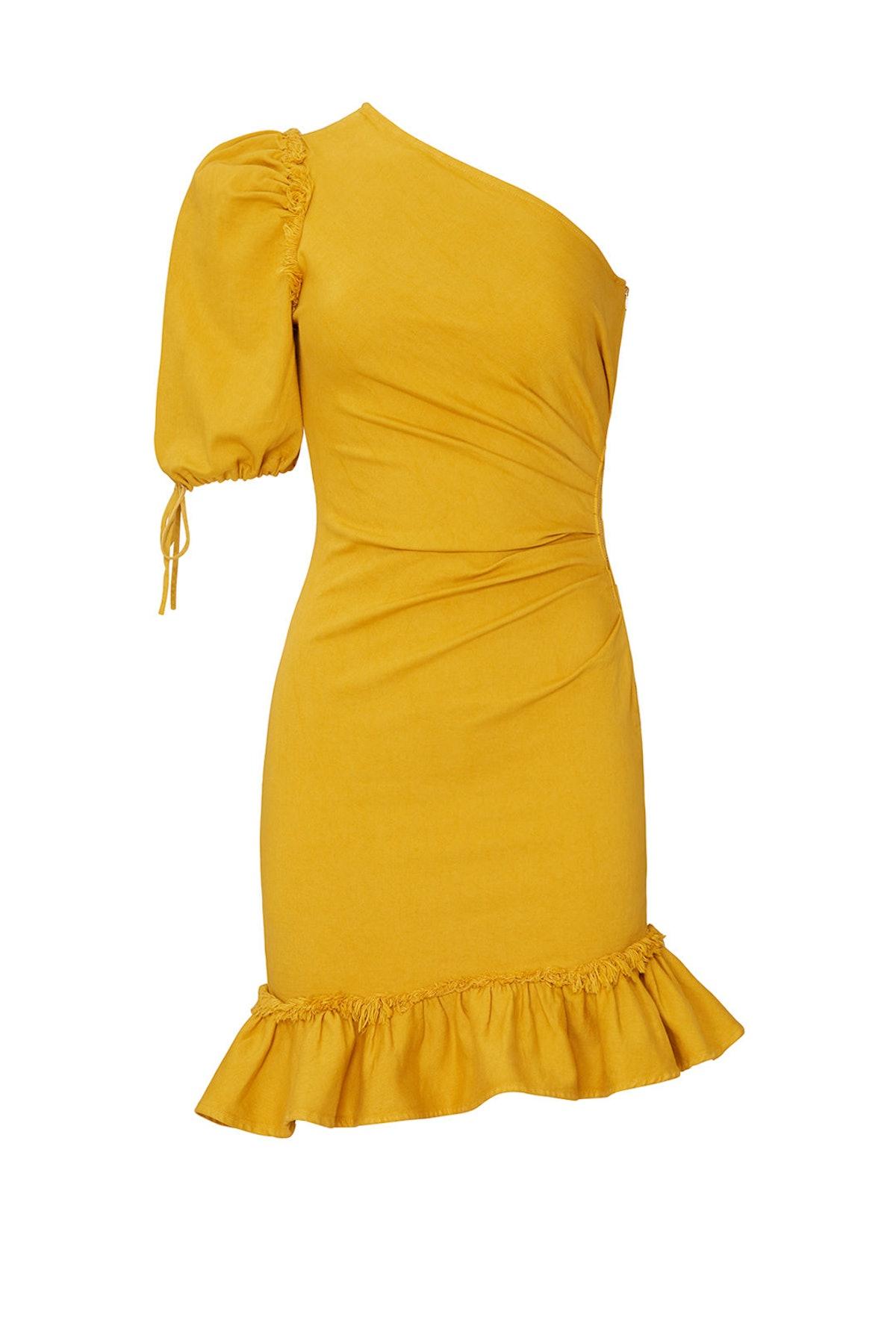 One Shoulder Asymmetric Denim Dress