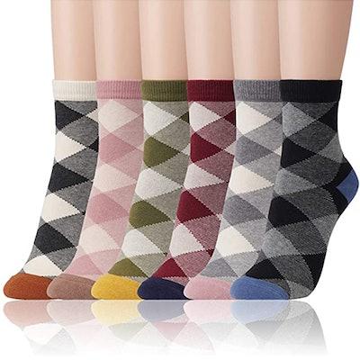 Kikiya Socks Patterned Crew Socks (4-Pack)