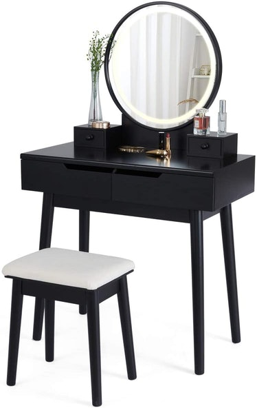 Dressing Table With Display Lighted Mirror