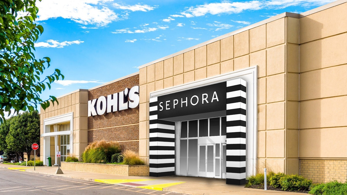 An image of what Sephora's mini stores at Kohl's will look like from the exterior.