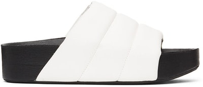 White Vegan Leather Dip Slides