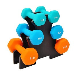 Sporzon! Neoprene Coated Dumbbell Set with Stand