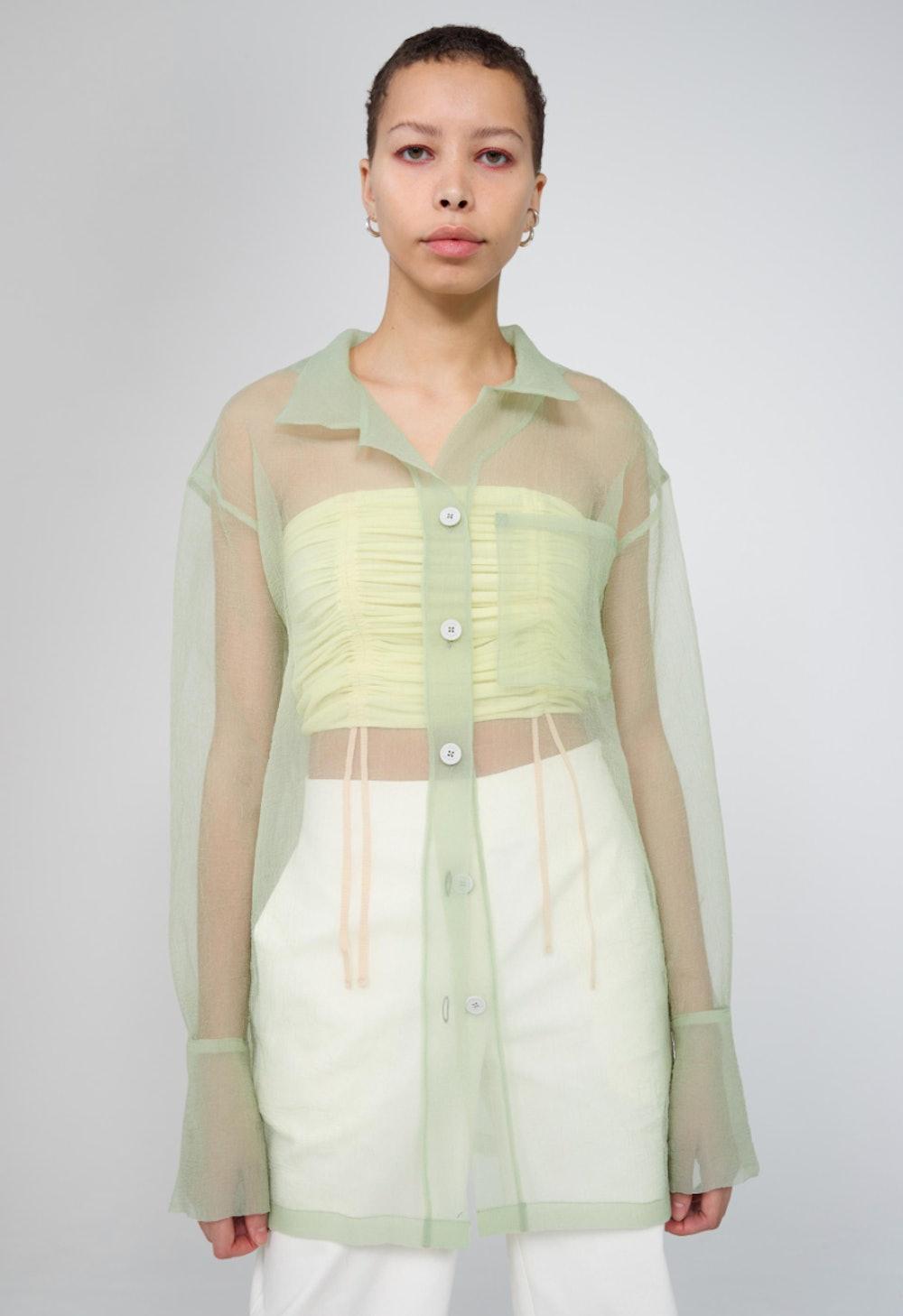 Green Oversize Organza Shirt