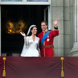 Prince William and Catherine, Duchess of Cambridge greet well-wishers from the balcony at Buckingham...