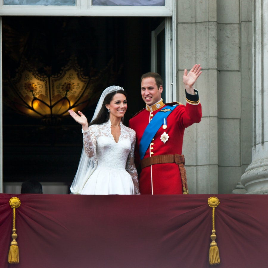 Prince William and Catherine, Duchess of Cambridge greet well-wishers from the balcony at Buckingham Palace after their wedding