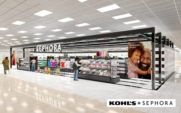 An image of what Sephora's mini stores at Kohl's will look like interiorly.