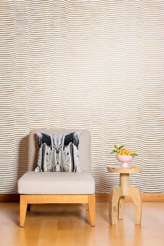 Waving Wallpaper in Gold and Cream