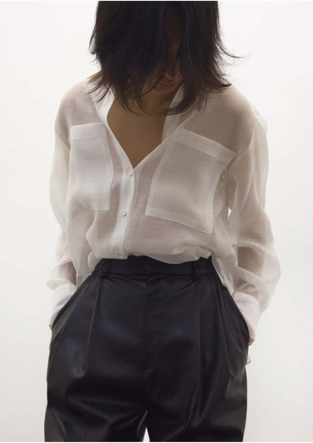 Off White Sheer Button Blouse