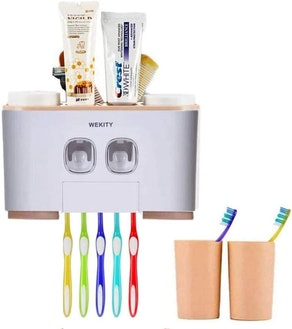 WREWING Toothbrush Holder with Toothpaste Dispenser