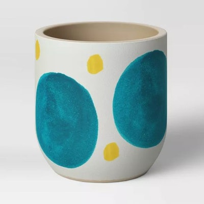 "4"" Ceramic Stoneware Planter White with Blue/Yellow Dots - Project 62â""¢"