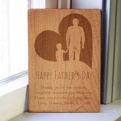 Father and Child Wood Engraved Card