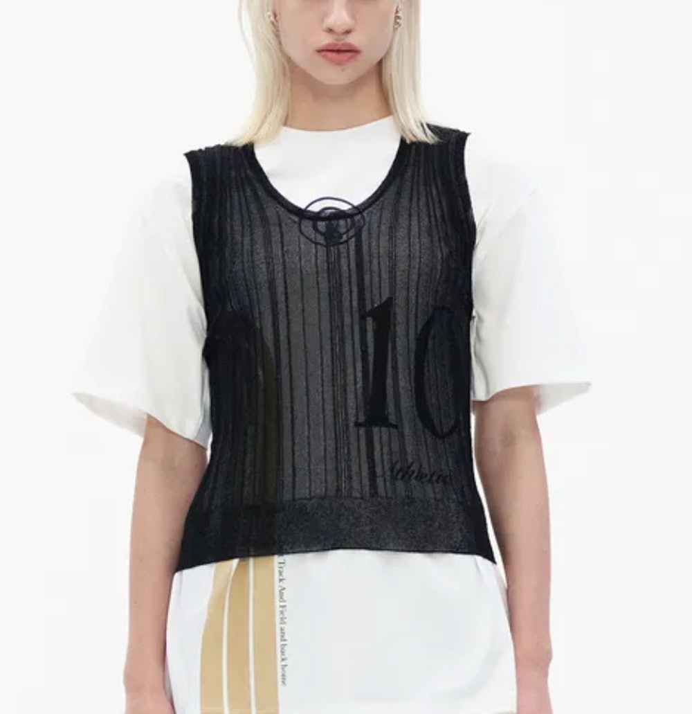 Pleated Sheer Knit Vest