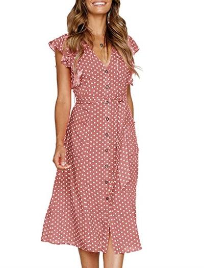MITILLY Polka Dot Sleeveless Midi Dress With Pockets