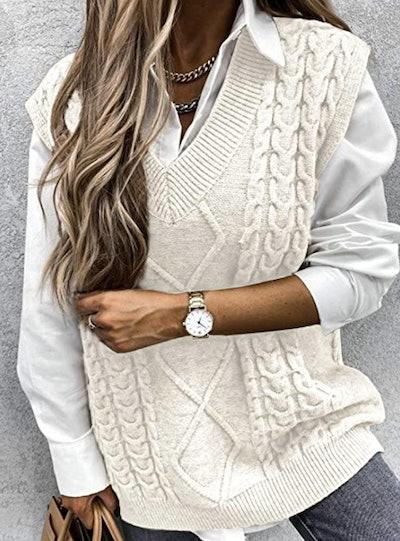 Bilbea Oversized Cable Knit Vest