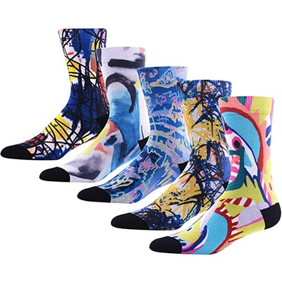 MK MEIKAN Colorful Printed Crew Socks (5-Pack)