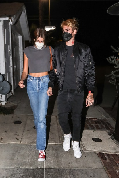 Rande Gerber arrives for a birthday dinner with his wife Cindy Crawford, their son Presley and his girlfriend Cameron Rorrison, and daughter Kaia Gerber at Gjelina in Venice.