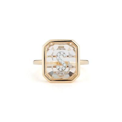 14K Gold Frame Crystal Quartz Secret Diamond Initial Ring