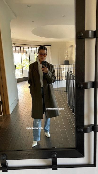 Kourtney Kardashian in Lexxola's orange Damien sunglasses.