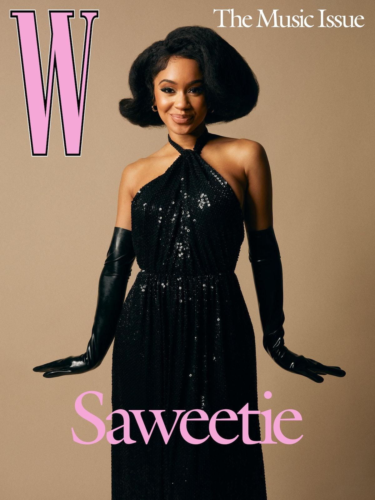 Saweetie wears a Celine by Hedi Slimane dress;  Khiry earrings; stylist's own gloves.