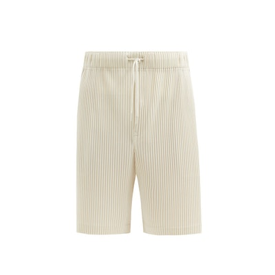 Drawstring technical-pleated shorts