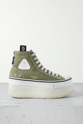 Grosgrain-Trimmed Distressed Canvas Platform High-Top Sneakers