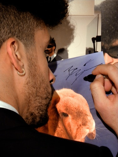Bad Bunny signs picture of bunny