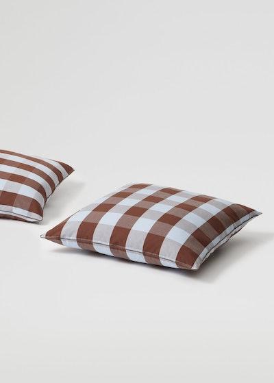 Check cotton cushion case set