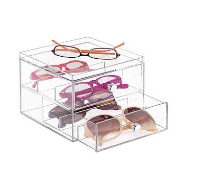 mDesign Stackable Plastic Eye Glass Storage