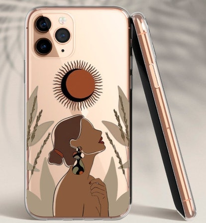 Abstract Boho Woman Clear Case for iPhone 12